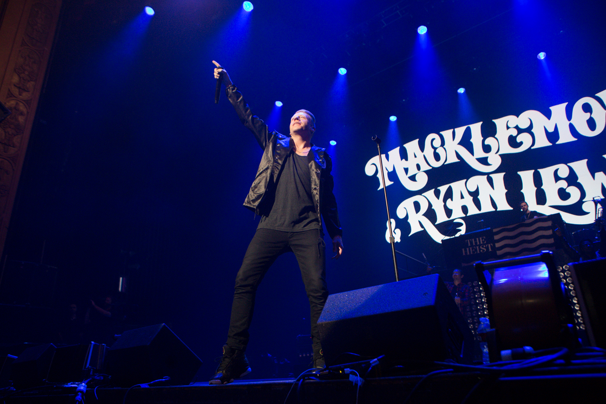Hometown favorites Macklemore and Ryan Lewis performed to close out T-Mobile's Uncarrier 5.0 event. They played a full set which included hits such as Thrift Shop and Can't Hold Us. June 18th 2014. (Joshua Lewis / Seattle Refined)