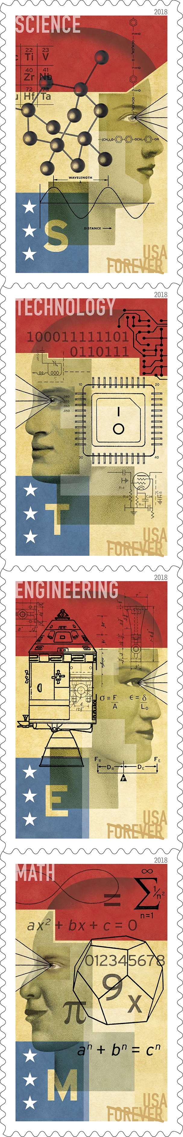 STEM Education: These Forever stamps celebrate the role of science, technology, engineering and mathematics (STEM) education in keeping our nation a global leader in innovation. Designed to pique the curiosity of the viewer, each of these four stamps features a collage of faces, symbols, drawings and numbers that represent the complexity and interconnectedness of the STEM disciplines. (USPS)