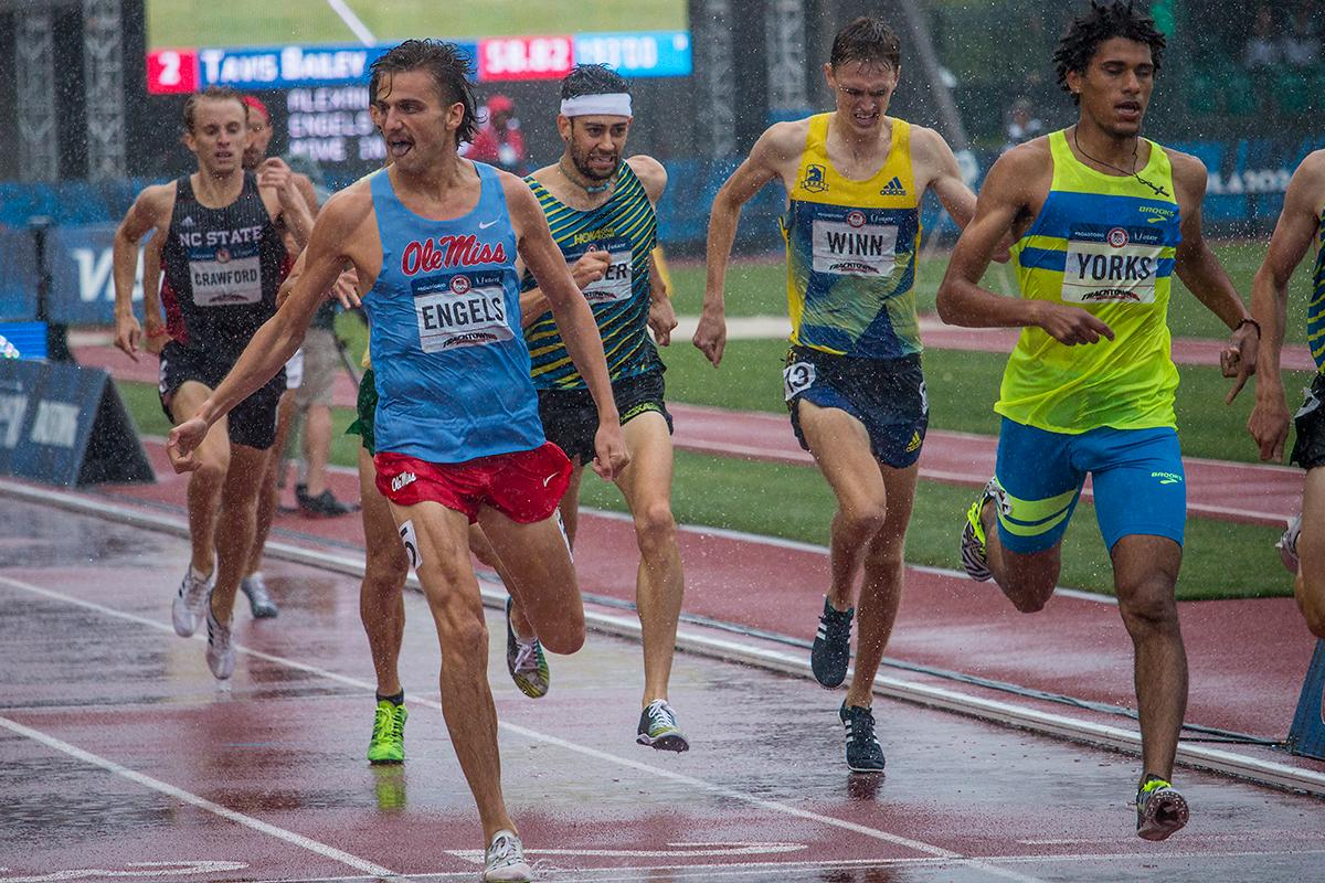 Runners complete the first heat of the men�s 1,500 meter semis. Day Eight of the U.S. Olympic Trials Track and Field continued on Friday at Hayward Field in Eugene, Ore. and will continue through July 10. Photo by Katie Pietzold