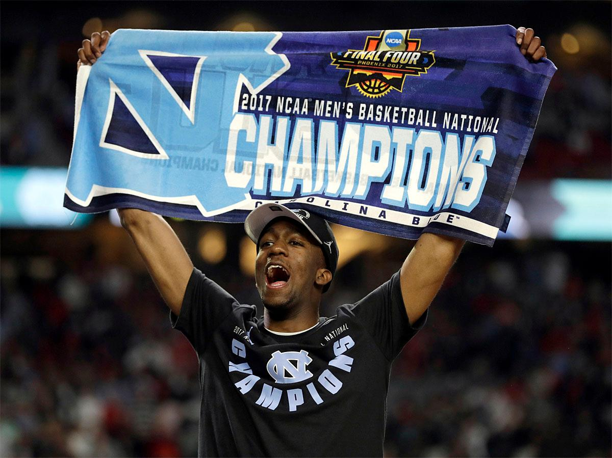 North Carolina's Kenny Williams celebrates after the finals of the Final Four NCAA college basketball tournament against Gonzaga, Monday, April 3, 2017, in Glendale, Ariz. North Carolina won 71-65. (AP Photo/David J. Phillip)