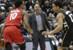 Milwaukee Bucks head coach Jason Kidd yells during the second half of game 3 of their NBA first-round playoff game against the Toronto Raptors Thursday, April 20, 2017, in Milwaukee.