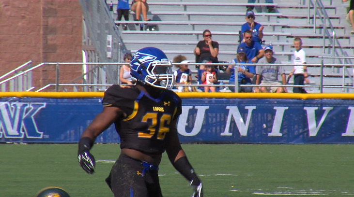 Devontay LeFlore pops up after making a tackle for the Lopers against Missouri Southern, Sept. 20, 2014, at Foster Field (NTV News)